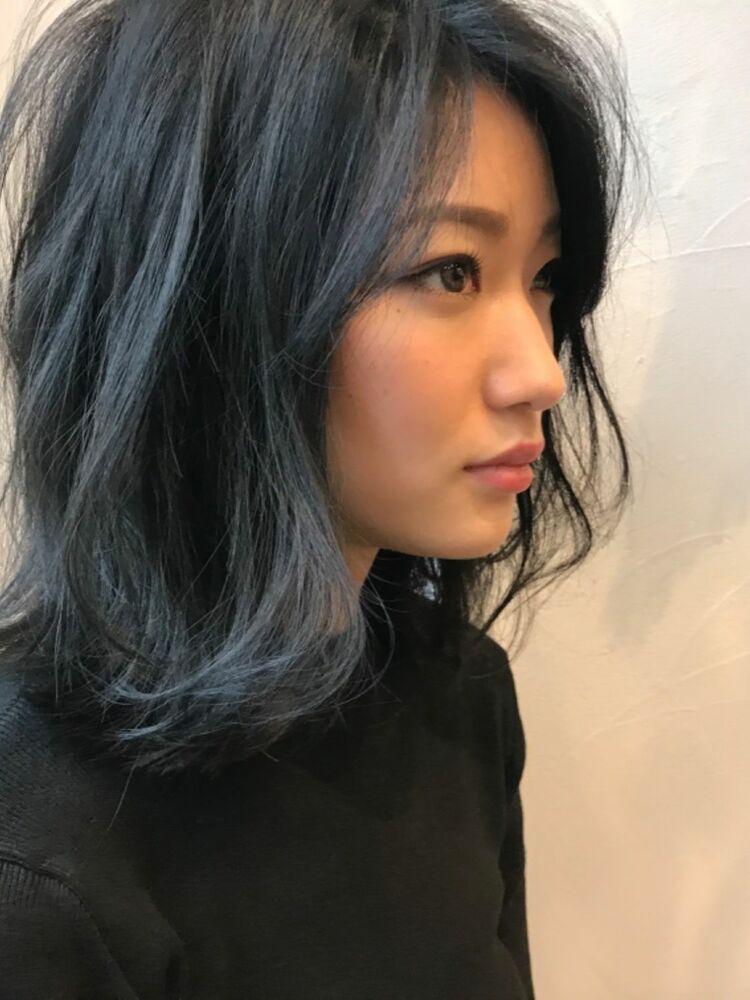 ミディアムレイヤー × ブルージュBelle吉祥寺カット、カラー 13200円