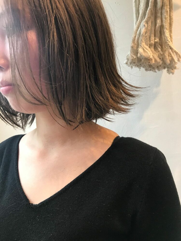 after ← before切りっぱなしボブ外ハネBelle吉祥寺カット、カラー 13200円