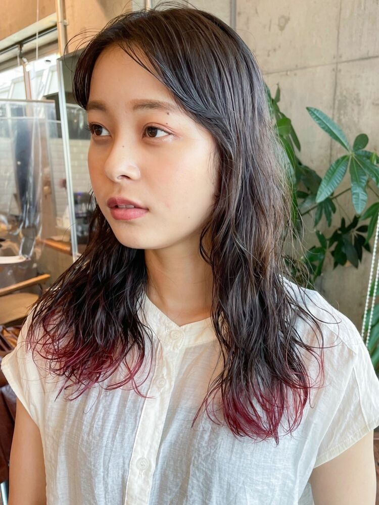 裾カラー/パーマスタイル