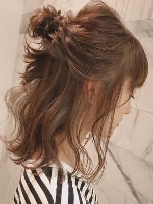 ヘアアレンジ、セミロング、ロング、ヘアカラー、冬カラー、前髪有り、ワンカール(iki)
