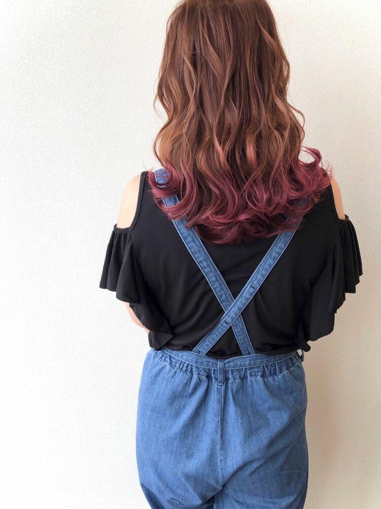 ピンクベージュ×裾カラーピンク
