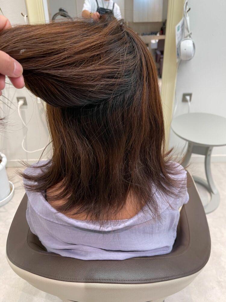 かごしま的髪質改善ストレート【ミディアム、スキによる広がり】