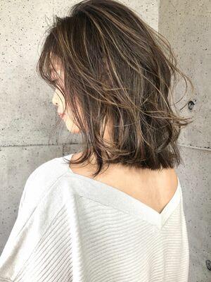ハイライト ミルクティーベージュ ボブ addict表参道 井坂