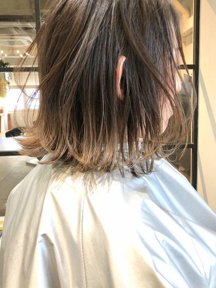 外国人風 裾カラー グラデーション ハイライト addict表参道 井坂