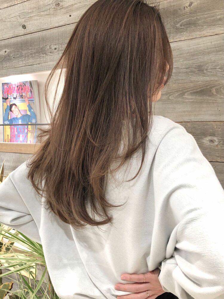 レイヤーカット ミルクティーベージュ井坂