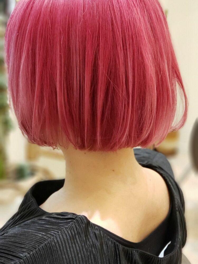 ピンクなシンプルボブ