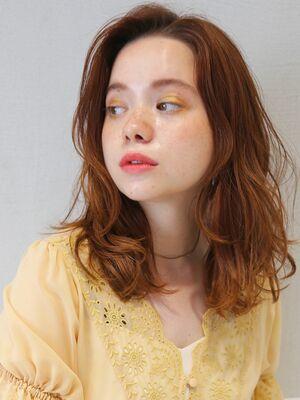 オレンジカラー ☆毛束感ミディアム