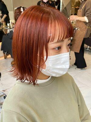 オレンジカラー ☆ 毛束感外ハネボブ
