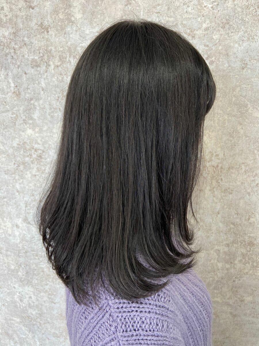 黒髪ワンカールミディアム