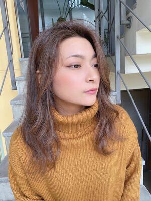 津賀涼 大人気シークレットハイライト ラベージュモテ愛されヘア
