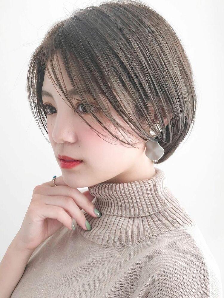 前髪長めショート/イルミナカラー/シークレットハイライト