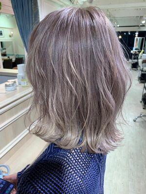 (Lond表参道倉崎涼)ブリーチで透け感バッチリ*N.カラーでツヤ髪*透明感溢れるグレージュカラー