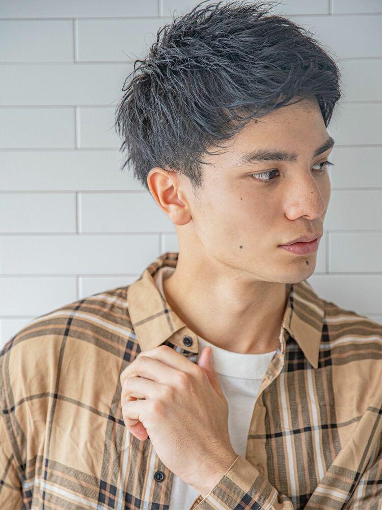 小久保style☆アップバング黒髪フェードカット
