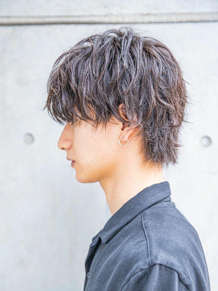 【MEN'S HAIR】かき上げニュアンスマッシュシルバーカラー