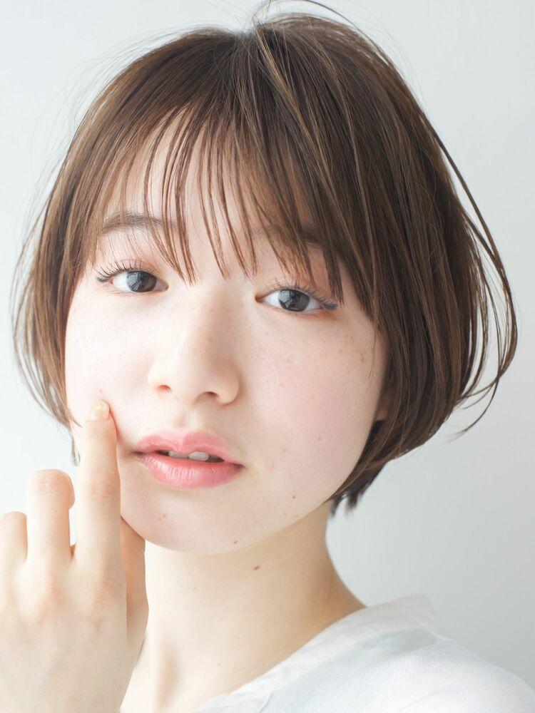 LIPPS銀座安田愛佳_ナチュラルシースルーバングショート透明感ハイライトブラウン