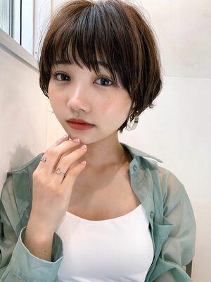 LIPPS銀座安田愛佳_大人可愛いブラウンベージュ丸みショート