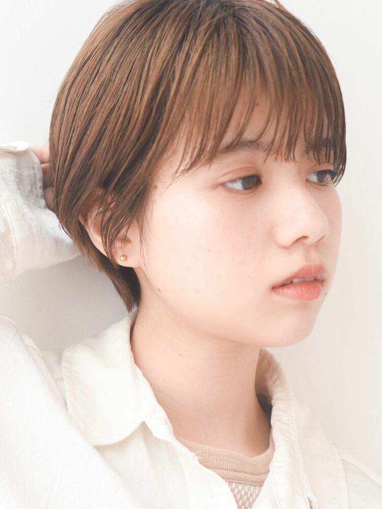 LIPPS銀座安田愛佳_コンパクト小顔マッシュショート透明感ブラウンベージュ