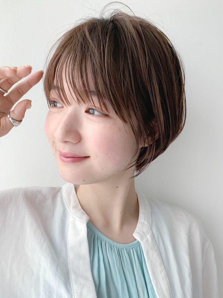 LIPPS銀座安田愛佳_丸み束感ショートボブハイライトカラーシースルーバング