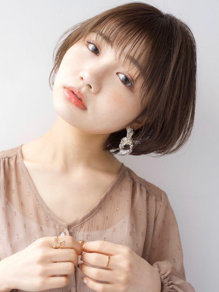 LIPPS銀座安田愛佳_ナチュラルショートボブ透けバングショコラブラウン