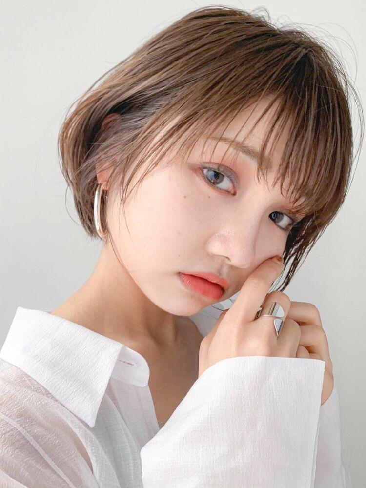 LIPPS銀座安田愛佳_透明感ブラウンのひし形ショートボブ