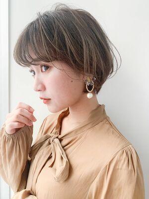 LIPPS銀座安田愛佳_ハイライトカラー丸みショートボブ