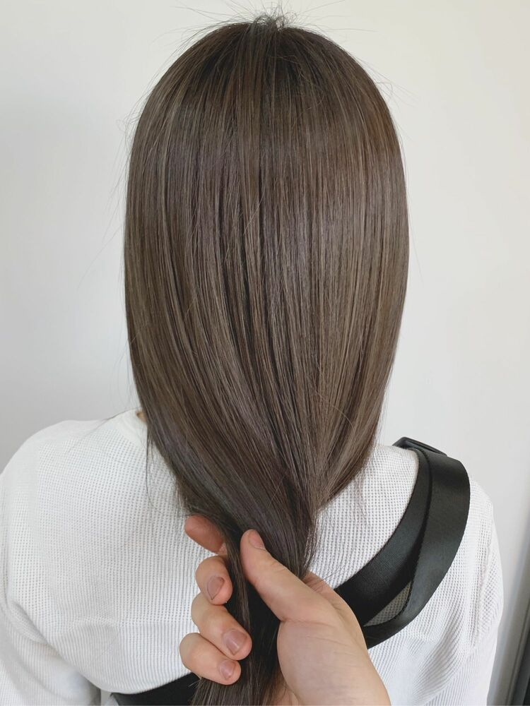 ハイライト グレージュカラー 髪質改善トリートメント
