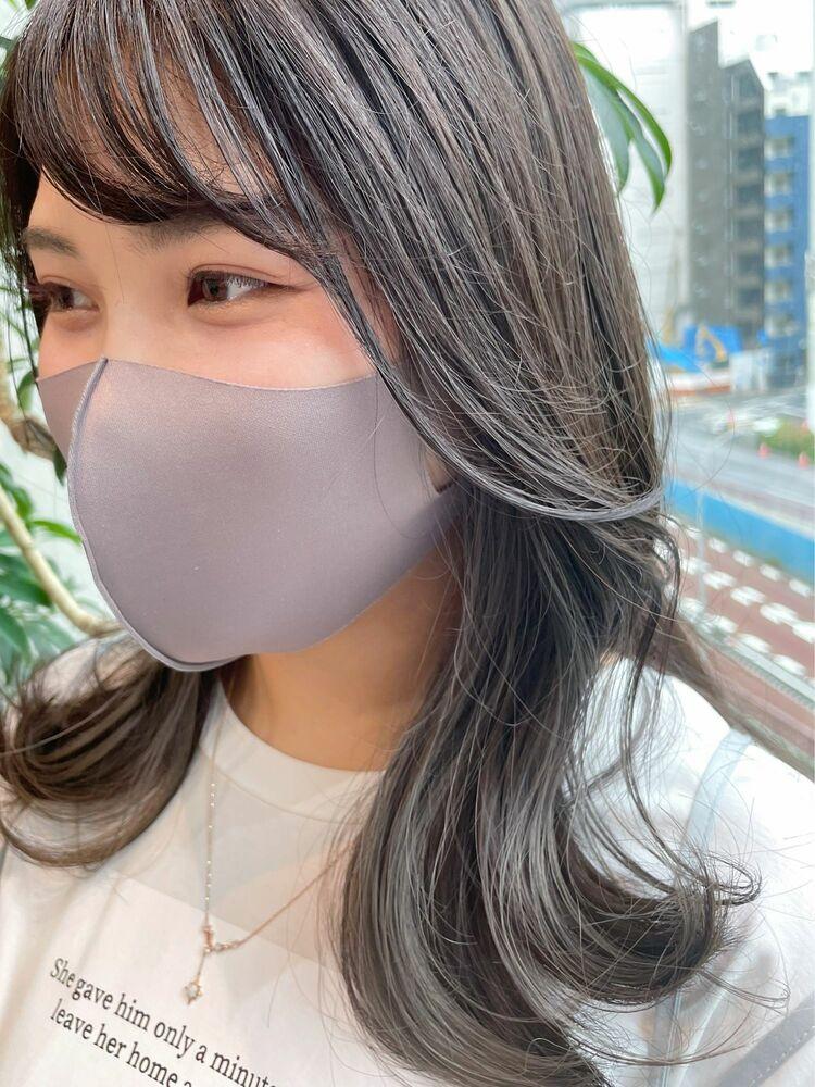 【GoofyTokyo銀座/渋谷トモヒロ】インナーカラー/イヤリングカラー/グレー/セミディー