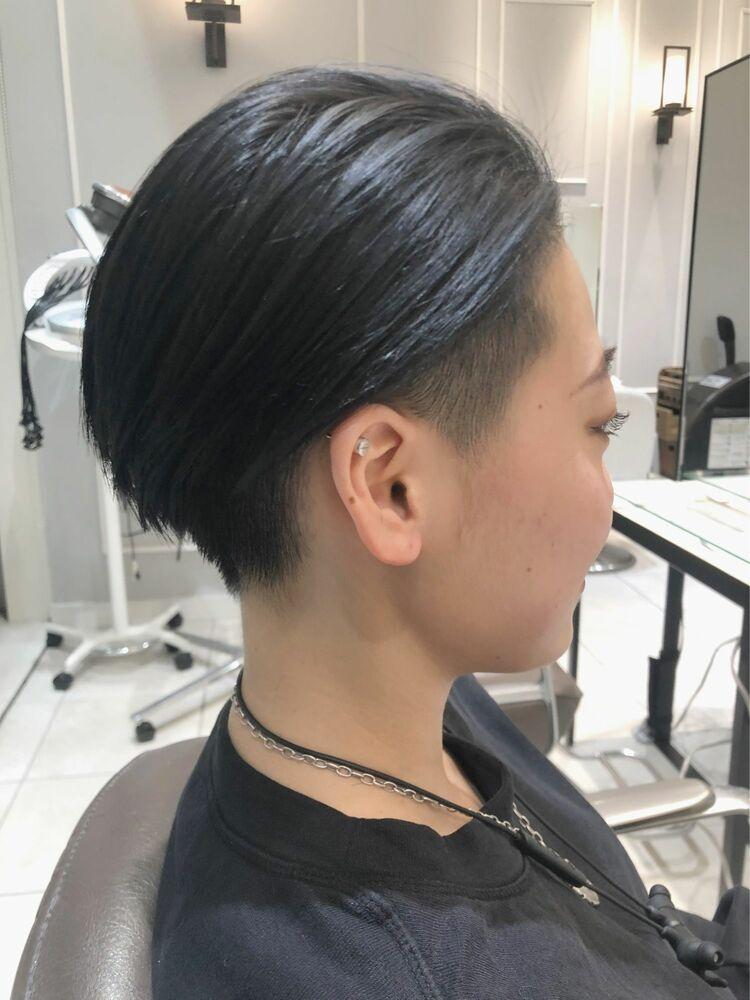 【GoofyTokyo銀座/渋谷トモヒロ】刈り上げ女子のオールバック/ネイビーカラー