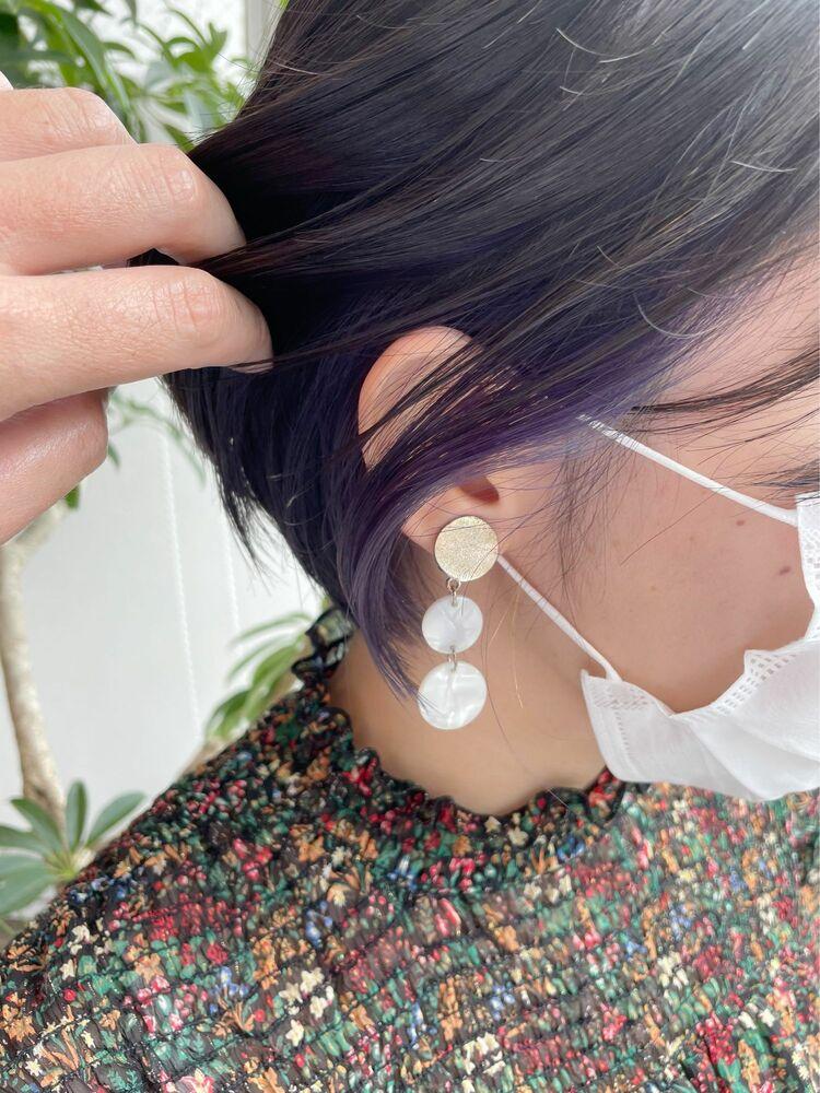 【GoofyTokyo銀座/渋谷智宏】イヤリングカラー/イヤリングカラーブルー/ブルーインナーカラー