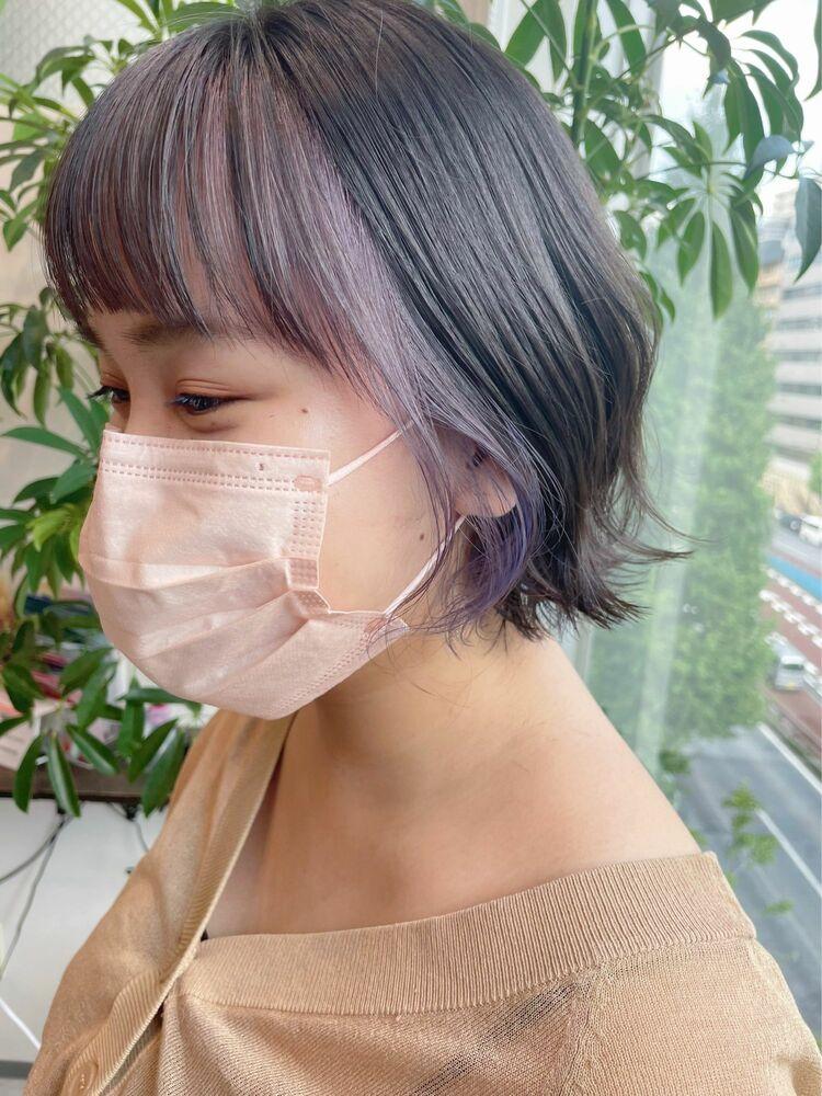 【GoofyTokyo銀座/渋谷トモヒロ】インナーカラー/フェイスフレーミング/アッシュラベンダー