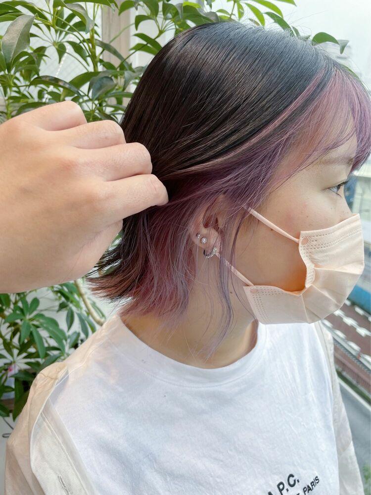 【GoofyTokyo銀座/渋谷トモヒロ】インナーカラー/ピンク/ピンクインナーカラー/ボブ