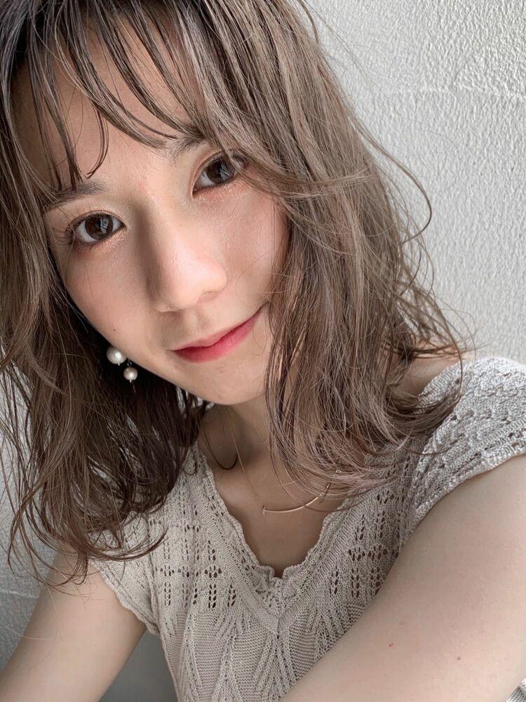 ラベンダーグレージュ☆ほつれウェーブ