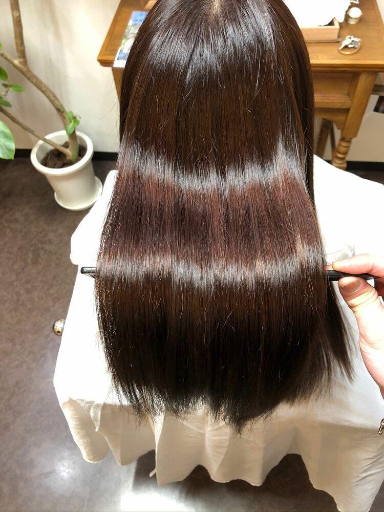 加工なしでこの艶感✨髪質改善×自然由来AVEDAカラー🌱