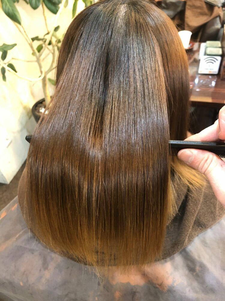 ブリーチ毛に髪質改善縮毛矯正