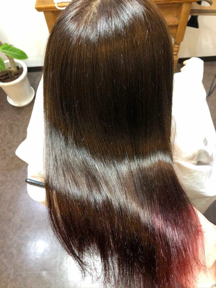 毛先ブリーチ履歴×縮毛髪質改善トリートメント。ブリーチ毛の方でも縮毛矯正ご相談下さい!