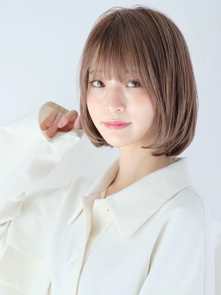 ☆ボブスタイル × グレージュ☆透明感カラー