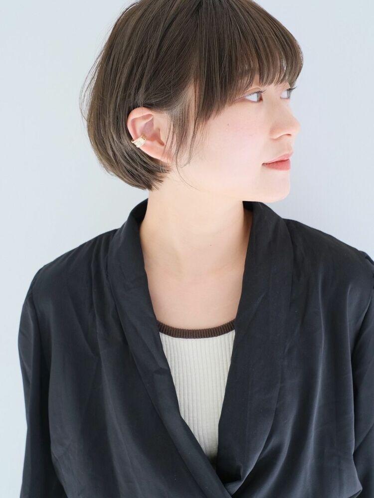 『 グレージュ × 透け感 』耳掛けショート 下ろし前髪☆