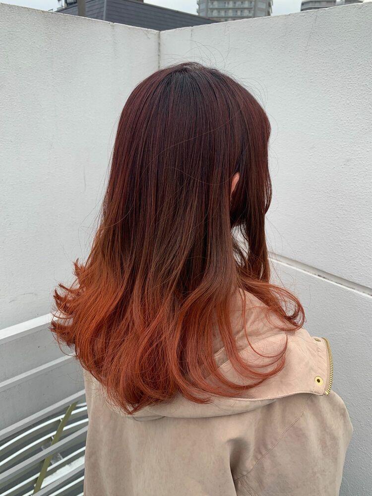 セミロングカッパーピンクグラデーションカラースタイル♪ Instagram→@kzoo1120