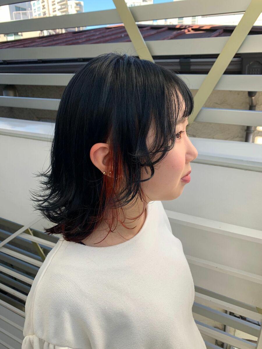 レイヤーショートウルフインナーチェリーレッドカラースタイルInstagram→@kzoo1120