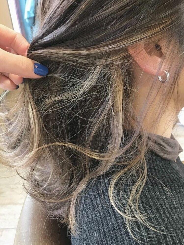 髪を結ぶと隠せる、インナーハイライト✨