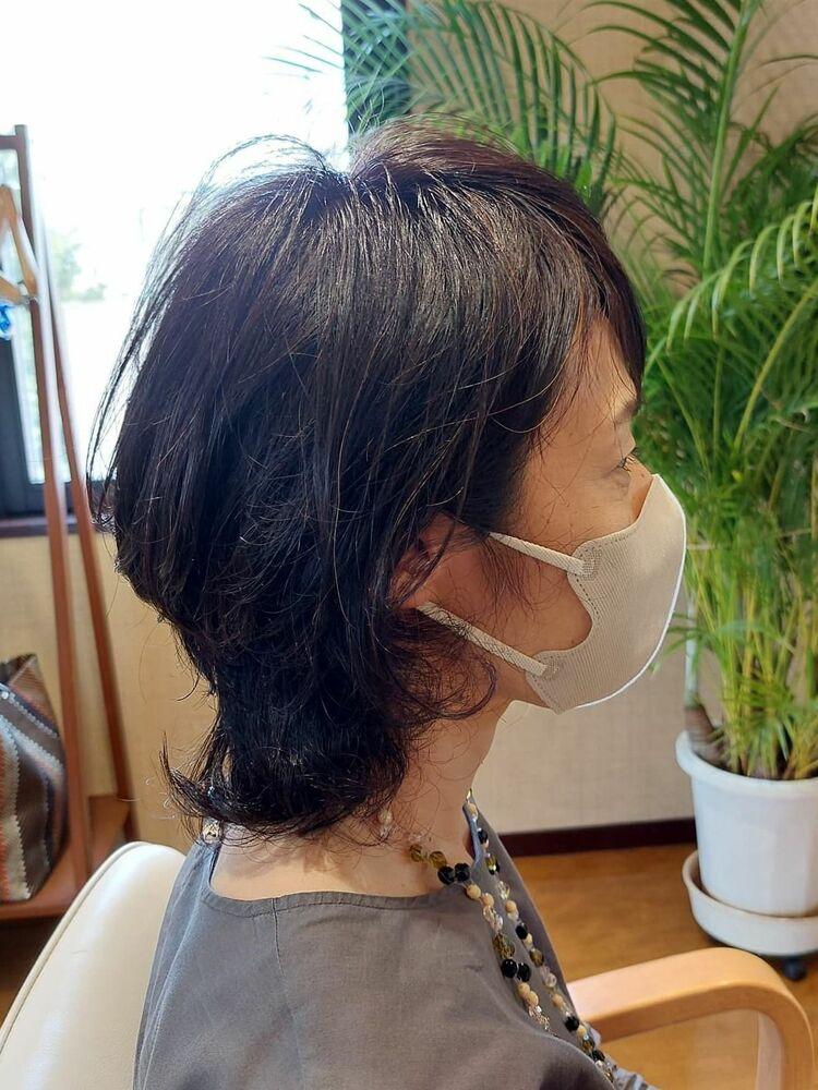 #50代ミディアムヘア 表参道プライベートヘアサロン
