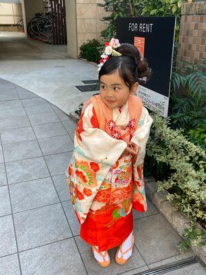 七五三の3歳☆可愛らしい和風シンプルアップ★ベテラン美容師のヘアメイク&着付けは支度時間が30分!