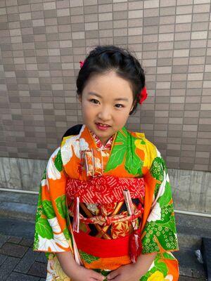 7歳の七五三の可愛い編み込みヘアアレンジ★