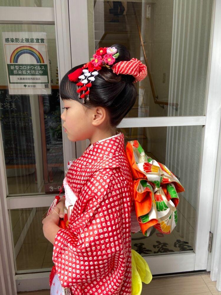 七五三7歳の可愛い新日本髪★髪飾りは全てレンタルです!美容室に頼んで良かったですと喜んで頂きました