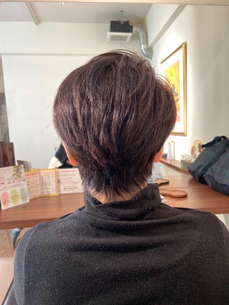 60.70代のミセスショート★時間が経っても形長持ちの手櫛でスタイリングショートヘア