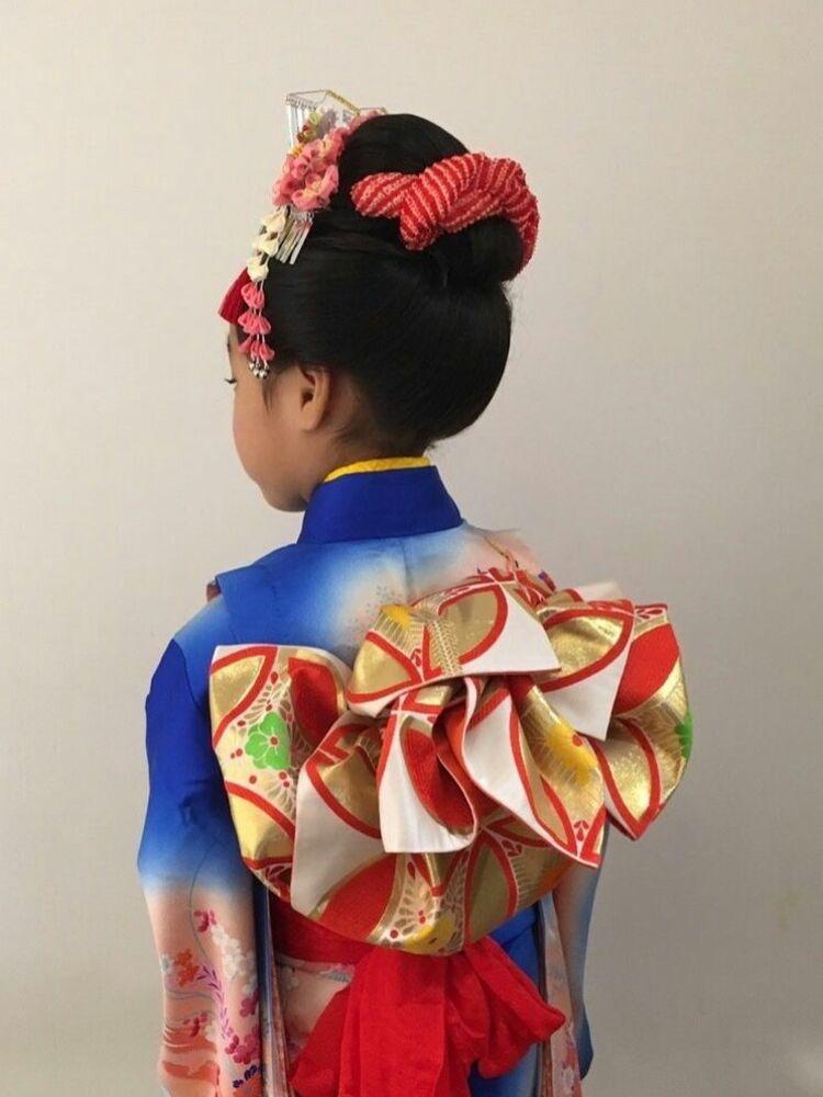 七五三の7歳は是非とも新日本髪で★振袖帯結びも華やかに