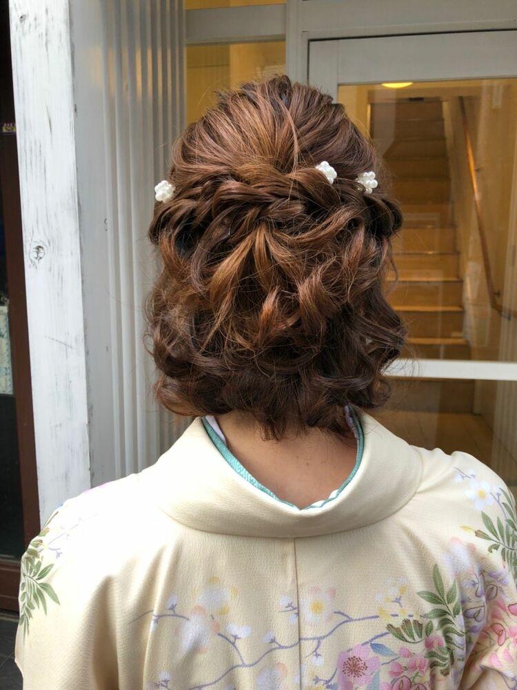 七五三のママ、髪が短いボブのヘアアレンジ&着付け