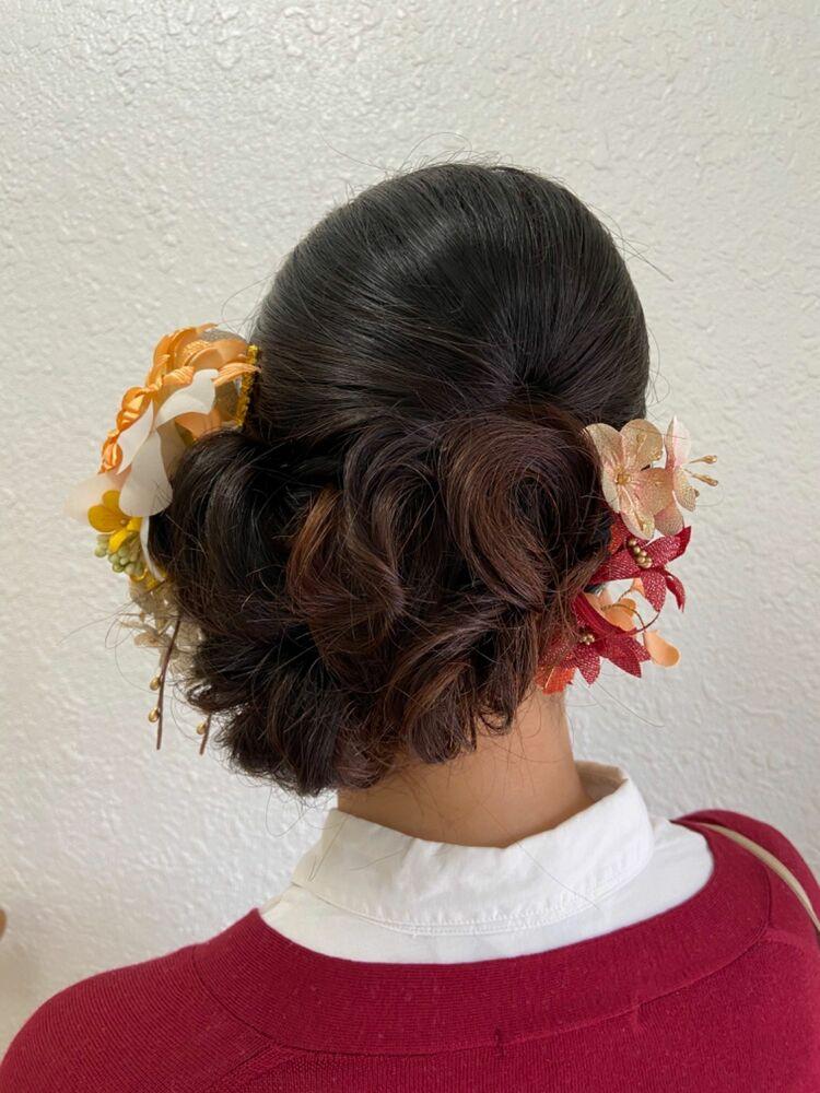成人式の前撮り撮影☆艶のある上品サイドアップ&髪飾りレンタル