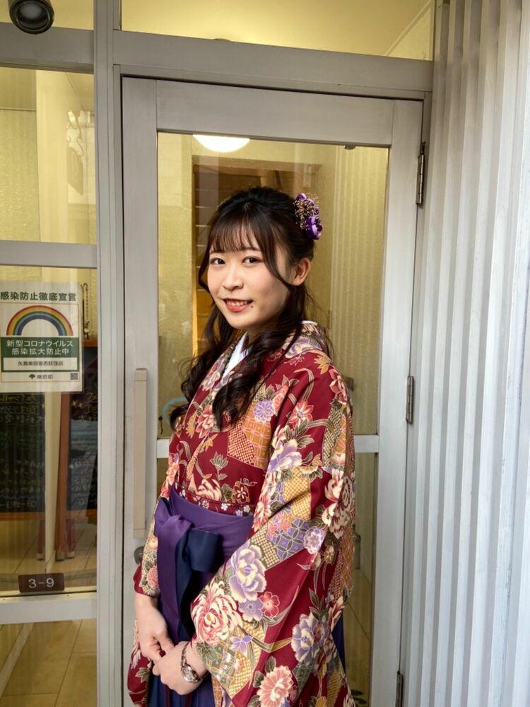 卒業式★編み込み入りの上品ハーフアップアレンジ★苦しくなく着崩れない卒業袴の着付け