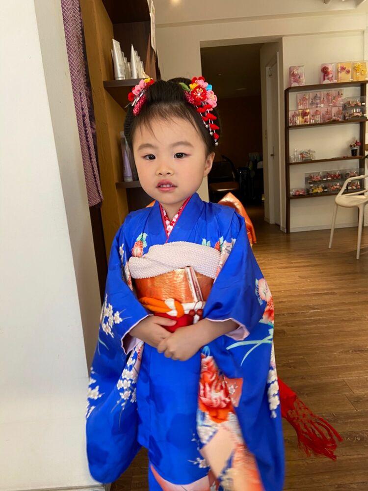 七五三の3歳可愛い新日本髪ヘアメイク&ボブスタイルでも綺麗に出来る!ヘアアップと訪問着着付け